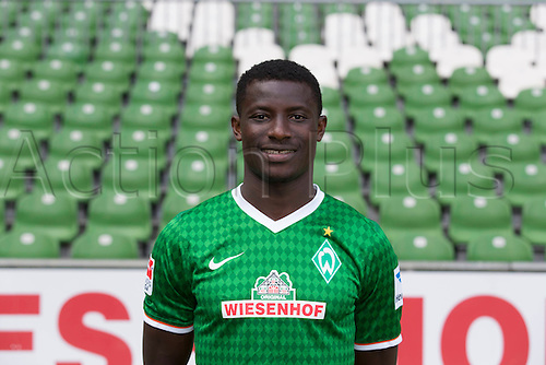 29.07.2013. Bremen, Germany.  The picture shows German Soccer Bundesliga club SV Werder Bremen's Joseph Akpala during the official photocall for the season 2013-14 in Bremen.