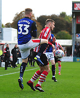 Lincoln City's Michael O'Connor vies for possession with Crewe Alexandra's Kevin O'Connor<br /> <br /> Photographer Andrew Vaughan/CameraSport<br /> <br /> The EFL Sky Bet League Two - Lincoln City v Crewe Alexandra - Saturday 6th October 2018 - Sincil Bank - Lincoln<br /> <br /> World Copyright &copy; 2018 CameraSport. All rights reserved. 43 Linden Ave. Countesthorpe. Leicester. England. LE8 5PG - Tel: +44 (0) 116 277 4147 - admin@camerasport.com - www.camerasport.com