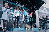 Michael Valgren (DEN/Astana) wins the 2018 Omloop Het Nieuwsblad ahead of Lukasz Wiśniowski (POL/SKY) &amp; Sep Vanmarcke (BEL/Education First-Drapac)<br /> <br /> Gent &rsaquo; Meerbeke: 196km (BELGIUM)