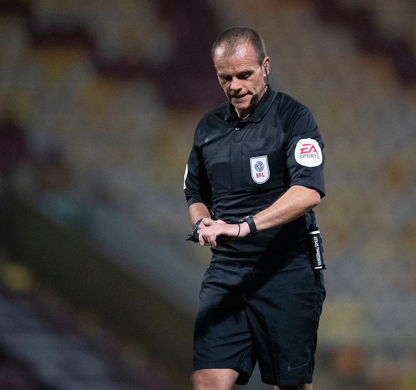 Referee Michael Salisbury<br /> <br /> Photographer Chris Vaughan/CameraSport<br /> <br /> Carabao Cup Second Round Northern Section - Bradford City v Lincoln City - Tuesday 15th September 2020 - Valley Parade - Bradford<br />  <br /> World Copyright © 2020 CameraSport. All rights reserved. 43 Linden Ave. Countesthorpe. Leicester. England. LE8 5PG - Tel: +44 (0) 116 277 4147 - admin@camerasport.com - www.camerasport.com