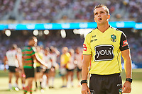 Umpire waits for the TV review, Rabbitohs v Vodafone Warriors, NRL rugby league premiership. Optus Stadium, Perth, Western Australia. 10 March 2018. Copyright Image: Daniel Carson / www.photosport.nz