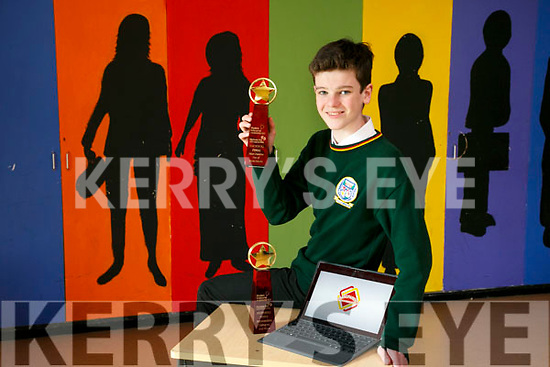 """Dylan Mangan from Killorglin Community College secured the """"Most Creative Use of  Social Media"""" Award at the Student Enterprise awards with his web site Grandparents Memories.com last week"""