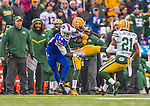 14 December 2014: Green Bay Packers cornerback Tramon Williams intercepts a pass intended for Buffalo Bills wide receiver Sammy Watkins (14) in the second quarter at Ralph Wilson Stadium in Orchard Park, NY. The Bills defeated the Packers 21-13, snapping the Packers' 5-game winning streak and keeping the Bills' 2014 playoff hopes alive. Mandatory Credit: Ed Wolfstein Photo *** RAW (NEF) Image File Available ***