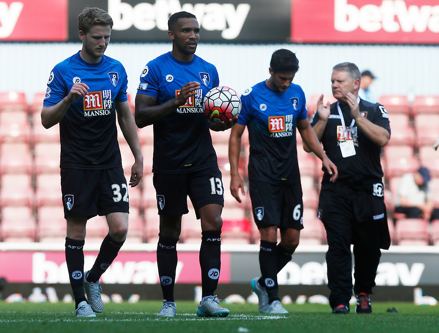 Bournemouth's Callum Wilson celebrates with his team mates with the ball<br /> <br /> Photographer Kieran Galvin/CameraSport<br /> <br /> Football - Barclays Premiership - West Ham United v Bournemouth - Saturday 22nd August 2015 - Boleyn Ground - London<br /> <br /> <br /> &copy; CameraSport - 43 Linden Ave. Countesthorpe. Leicester. England. LE8 5PG - Tel: +44 (0) 116 277 4147 - admin@camerasport.com - www.camerasport.com
