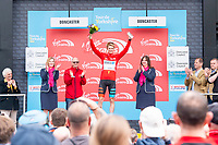 Picture by SWpix.com - 03/05/2018 - Cycling - 2018 Tour de Yorkshire - Stage 1: Beverley to Doncaster - Michael Cuming of Team madison Genesis celebrates in The King of The Mountains Jersey