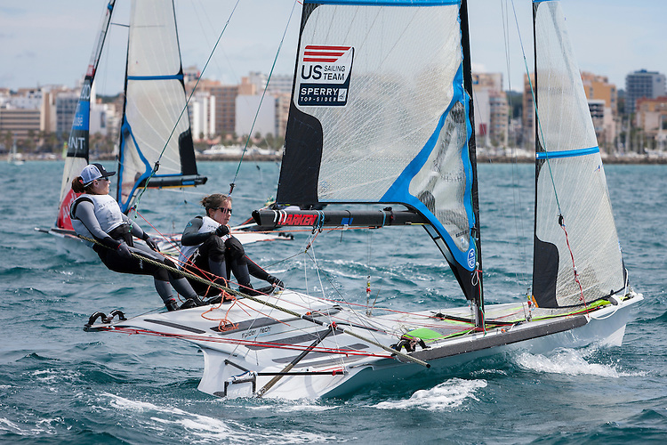 20140328, Palma de Mallorca, Spain: SOFIA TROPHY 2014 - 850 sailors from 50 countries compete at the ISAF Sailing World Cup event. 49erFX - USA816 - Debbie Capozzi / Molly O'Bryan Vandemoer. Photo: Mick Anderson/SAILINGPIX.
