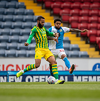 11th July 2020; Ewood Park, Blackburn, Lancashire, England; English Football League Championship Football, Blackburn Rovers versus West Bromwich Albion; Jake Livermore of West Bromwich Albionplays the ball whilst under pressure from Dominic Samuel of Blackburn Rovers