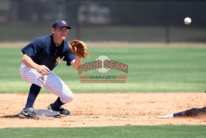 March 26, 2010:  Second Baseman Corban Joseph of the New York Yankees organization during Spring Training at the Yankees Minor League Complex in Tampa, FL.  Photo By Mike Janes/Four Seam Images