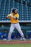 AZL Athletics Gold Rafael Rincones (8) at bat during an Arizona League game against the AZL Cubs 1 at Sloan Park on June 20, 2019 in Mesa, Arizona. AZL Athletics Gold defeated AZL Cubs 1 21-3. (Zachary Lucy/Four Seam Images)