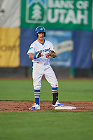 Rylan Bannon (18) of the Ogden Raptors during the game against the Great Falls Voyagers at Lindquist Field on August 16, 2017 in Ogden, Utah. The Voyagers defeated the Raptors 11-6. (Stephen Smith/Four Seam Images)