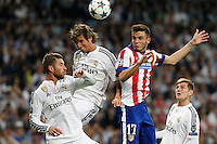 Atletico Madrid´s Spanish midfielder Saul and Real Madrid's Portuguese defense Fabio Coentrao
