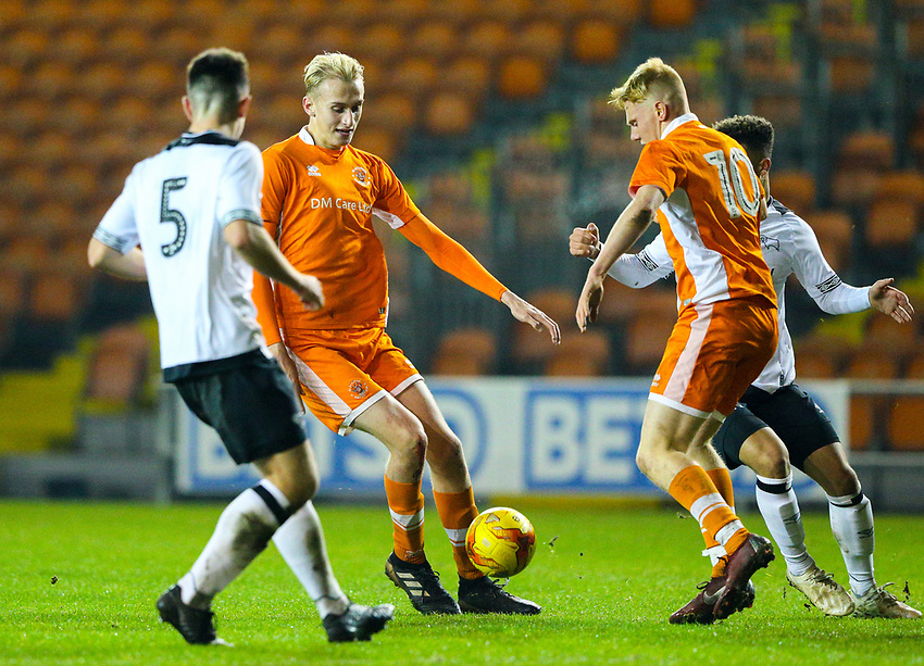 Blackpool's Ewan Bange and Owen Watkinson attack the Derby County defence<br /> <br /> Photographer Alex Dodd/CameraSport<br /> <br /> The FA Youth Cup Third Round - Blackpool U18 v Derby County U18 - Tuesday 4th December 2018 - Bloomfield Road - Blackpool<br />  <br /> World Copyright © 2018 CameraSport. All rights reserved. 43 Linden Ave. Countesthorpe. Leicester. England. LE8 5PG - Tel: +44 (0) 116 277 4147 - admin@camerasport.com - www.camerasport.com
