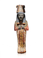 Ancient Egyptian shabtis doll, lwood, New Kingdom, 18th Dynasty, (1538-1040 BC), Deir el Medina. Egyptian Museum, Turin. white background,