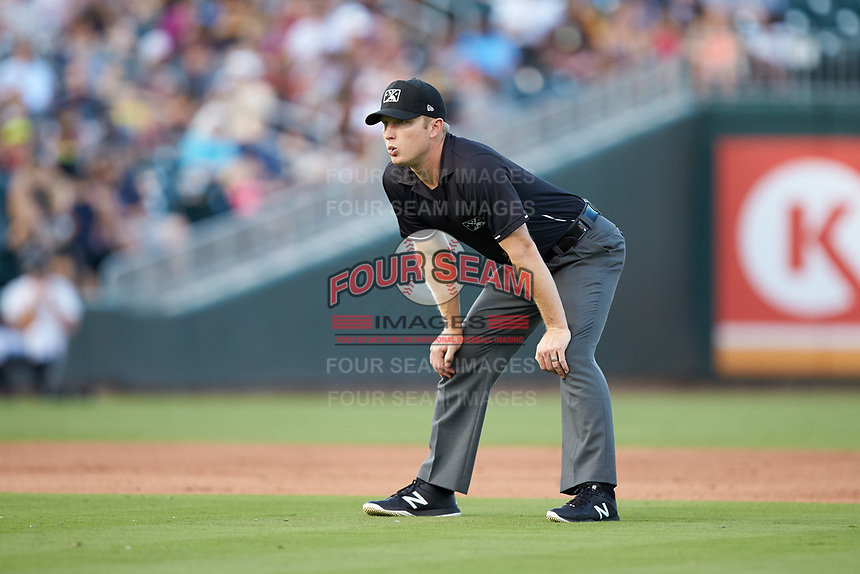 Third base umpire Travis Godec during the International League game between the Toledo Mud Hens and the Charlotte Knights at BB&T BallPark on June 22, 2018 in Charlotte, North Carolina. The Mud Hens defeated the Knights 4-0.  (Brian Westerholt/Four Seam Images)