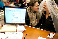 "Amy and Jeri Andrews of Seattle, obtain their marriage license around 1am on December 6th, 2012 at the King County Courthouse. Amy Andrews, ""It's the civil rights moment of our time."""