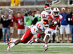 Southern Methodist Mustangs wide receiver Der'rikk Thompson (7) and Houston Cougars defensive back Kent Brooks (24) in action during the game between the University of Houston Cougars and the Southern Methodist Mustangs at the Gerald J. Ford Stadium in Dallas, Texas. SMU defeats Houston 72 to 42...