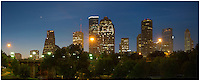 This Houston Skyline panorama was captured in the early morning hours before sunrise. It is a stitching of two images to create the scene you see just beyond the Sabine Street Bridge. Beneath this skyline flows the waters of Buffalo Bayou, a pedestrian friendly area that is used by bikers, runners, and folks enjoying a picnic.  To get away from the masses that live in Texas' largest city, you only need to visit this scenic greenbelt just beyond downtown.