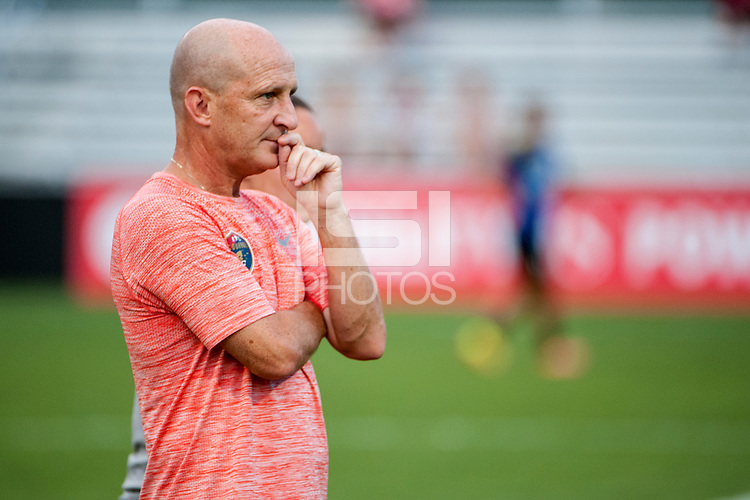 Kansas City, MO - Saturday July 22, 2017: Paul Riley during a regular season National Women's Soccer League (NWSL) match between FC Kansas City and the North Carolina Courage at Children's Mercy Victory Field.