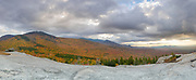 Panoramic of Mount Hale from Middle Sugarloaf Mountain in Bethlehem, New Hampshire USA during the autumn months. This image consists of five images stitched together