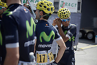 Nairo Quintana (COL/Movistar) getting ready for the morning podium team presentation<br /> <br /> Stage 20: Megève › Morzine (146.5km)<br /> 103rd Tour de France 2016