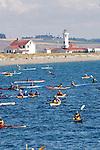 Puget Sound, Sea Kayakers, Point Wilson Lighthouse, Port Townsend, Washington State, Admiralty Inlet, Fort Worden State Park, Sea Kayaking Symposium, summer,.