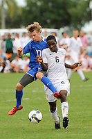 Reed McKenna (17) of the Academy Select Team and Boyd Okwuonu (6) of the USA. The US U-17 Men's National Team defeated the Development Academy Select Team 5-3 during day two of the US Soccer Development Academy  Spring Showcase in Sarasota, FL, on May 23, 2009.