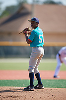 Kendrick Curry II (57), from Washington, DC, while playing for the Mariners during the Baseball Factory Pirate City Christmas Camp & Tournament on December 28, 2017 at Pirate City in Bradenton, Florida.  (Mike Janes/Four Seam Images)