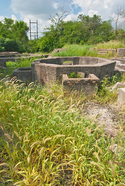 The Joliet Iron Works Historic Site is now a county Forest Preserve, Joliet, Will County, Illinois, seen are concrete furnace ruins