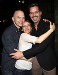 Michael Cerveris, Elena Roger & Ricky Martin.attending the Broadway Opening Night Actors' Equity Gypsy Robe Ceremony for recipient Matt Wall in 'EVITA' at the Marquis Theatre in New York City on 4/5/2012 © Walter McBride/WM Photography