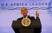 United States President Barack Obama speaks during a press conference after the Africa Leaders Summit at the State Department in Washington, DC, August 6, 2014.  Obama promoted business relationships between the United States and African countries during the three-day U.S.-Africa Leaders Summit, where 49 heads of state are meeting in Washington.  <br /> Credit: Molly Riley / Pool via CNP