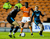 Blackpool's Joe Dodoo takes on West Bromwich Albion U21's Kyle Howkins<br /> <br /> Photographer Alex Dodd/CameraSport<br /> <br /> The EFL Checkatrade Trophy Northern Group C - Blackpool v West Bromwich Albion U21 - Tuesday 9th October 2018 - Bloomfield Road - Blackpool<br />  <br /> World Copyright &copy; 2018 CameraSport. All rights reserved. 43 Linden Ave. Countesthorpe. Leicester. England. LE8 5PG - Tel: +44 (0) 116 277 4147 - admin@camerasport.com - www.camerasport.com