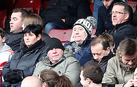 Pictured: A Swansea supporter. 01 February 2014<br /> Re: Barclay's Premier League, West Ham United v Swansea City FC at Boleyn Ground, London.