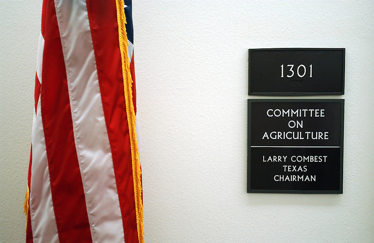 4/18/02.FARM BILL CONFERENCE--The sign outside the offices of House Agriculture Committee in the Longworth House Office Building..CONGRESSIONAL QUARTERLY PHOTO BY SCOTT J. FERRELL