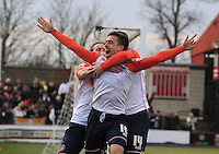 Olly Lee of Luton Town celebrates his winning goa during the Sky Bet League 2 match between York City and Luton Town at Bootham Crescent, York, England on 27 February 2016. Photo by Liam Smith.