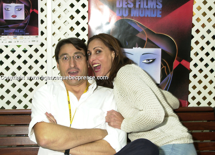 Aug 23,  2002, Montreal, Quebec, Canada<br /> <br /> EXCLUSIVE PHOTO<br /> Actors Carmelo Gomez (L) and Maria Barranco (R)<br /> pose before the press conference for<br /> EL VIAJE DE CAROL (Carol's Journey / Le Voyage de Carol), directed by Imanol Uribe and presented in the official competition of the 26th World Film Festival<br /> <br /> Born in El Salvador to Spanish parents in 1951, Imanol Uribe has lived and worked in Spain since 1957. After graduating in journalism he studied cinema and began directing short and medium-length films. He made his directorial debut in 1979 with EL PROCESO DE BURGOS. His filmography includes: LA FUGA DE SEGOVIA (1981), LA MUERTE DE MIKEL (1983), ADIOS PEQUE&mdash;A (1986), THE DUMBFOUNDED KING (1991), RUNNING OUT OF TIME (1994), BWANA (1995), EXTRA&mdash;OS (1998) and PLENILUNIO (2001),<br /> <br /> Mandatory Credit: Photo by Pierre Roussel- Images Distribution. (&copy;) Copyright 2002 by Pierre Roussel <br /> <br /> NOTE : <br />  Nikon D-1 jpeg opened with Qimage icc profile, saved in Adobe 1998 RGB<br /> .Uncompressed  Uncropped  Original  size  file availble on request.