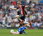 Maikel Kieftenbeld of Birmingham City tackles Mark Duffy of Sheffield Utd during the championship match at St Andrews Stadium, Birmingham. Picture date 21st April 2018. Picture credit should read: Simon Bellis/Sportimage