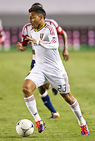 CARSON, CA - June 16, 2012: Real Salt Lake forward Paulo Araujo Jr. (23) during the Chivas USA vs Real Salt Lake match at the Home Depot Center in Carson, California. Final score Real Salt Lake 3, Chivas USA 0.