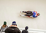 4 December 2015: Taylor Morris, sliding for United States of America, enters a curve during his first run of the Viessmann Luge World Cup at the Olympic Sports Track in Lake Placid, New York, USA. Mandatory Credit: Ed Wolfstein Photo *** RAW (NEF) Image File Available ***