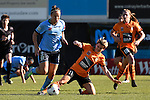 BRISBANE, AUSTRALIA - OCTOBER 30: Maili Forbes of the Roar tackles Caitlin Foord of Sydney during the round 1 Westfield W-League match between the Brisbane Roar and Sydney FC at Spencer Park on November 5, 2016 in Brisbane, Australia. (Photo by Patrick Kearney/Brisbane Roar)