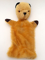 """BNPS.co.uk (01202 558833)<br /> Pic: Hansons/BNPS<br /> <br /> Pictured: The Original Sooty Puppet owned by Harry Corbett<br /> <br /> An iconic old Sooty TV puppet which Harry Corbett gave to a friend has emerged for sale for £1,200.<br /> <br /> The children's show inventor Harry Corbett gifted it to biology teacher Paul Mouncey, from Comrie, Perthshire, Scotland, in the mid-1970s.<br /> <br /> His daughter Tina Stewart, a veterinary receptionist from Dunblane, is now selling the hand puppet with Hanson's Auctioneers, of Etwall, Derbys.<br /> <br /> Mrs Stewart, a veterinary receptionist from Dunblane, Scotland, said: """"We took Sooty along with us and after the show met Richard - who immediately new our puppet was an original."""