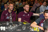 Pictured: Mike van der Hoorn and Oli McBurnie of Swansea City during the Swans Community Trust awards dinner at the liberty stadium in Swansea, Wales, UK <br /> Thursday 02 April 2019