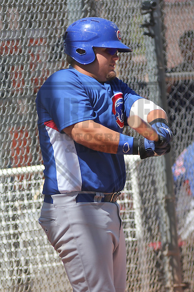 MESA - March 2013: Daniel Vogelbach (22) of the Chicago Cubs during a Spring Training game against the Cincinnati Reds on March 24, 2013 at Fitch Park in Mesa, Arizona.  (Photo by Brad Krause). .