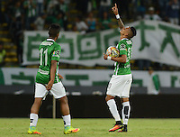 MEDELLÍN -COLOMBIA - 24-09-2016: Arley Rodriguez (Der) de Atlético Nacional celebra después de anotar un gol a Cortulúa durante partido por la fecha 14 de la Liga Águila II 2016 jugado en el estadio Atanasio Girardot de la ciudad de Medellín./ Arley Rodriguez (R) payer of Atletico Nacional celebrates after scoring a goal to Cortulua during match for the date 14 of the Aguila League II 2016 at Atanasio Girardot stadium in Medellin city. Photo: VizzorImage/León Monsalve/STR
