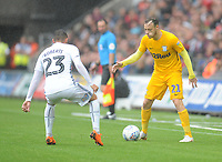 Preston North End's Brandon Barker under pressure from Swansea City's Connor Roberts<br /> <br /> Photographer Kevin Barnes/CameraSport<br /> <br /> The EFL Sky Bet Championship - Swansea City v Preston North End - Saturday August 11th 2018 - Liberty Stadium - Swansea<br /> <br /> World Copyright &copy; 2018 CameraSport. All rights reserved. 43 Linden Ave. Countesthorpe. Leicester. England. LE8 5PG - Tel: +44 (0) 116 277 4147 - admin@camerasport.com - www.camerasport.com