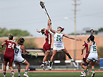 RICHMOND, VA - APRIL 27: Notre Dame's Casey Pearsall (24) and Boston College's Kate Taylor (left) jump for the ball. The Notre Dame Fighting Irish played the Boston College Eagles on April 27, 2017, at Sports Backers Stadium in Richmond, VA in an ACC Women's Lacrosse Tournament quarterfinal match. Boston College won the game 17-14.