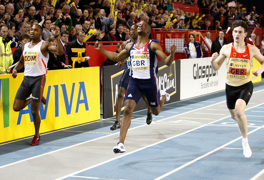 Photo: Richard Lane/Richard Lane Photography. Aviva International Match. 30/01/2010. Great Britain's Leon Baptiste celebrates winning the men's 200m.