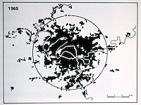 Paris: Growth of Region, 1965. Circle marks the 25 K radius. Reference only.