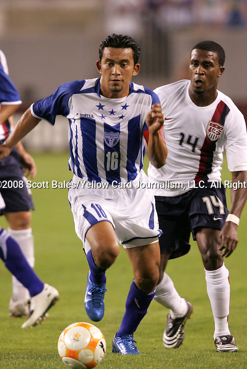 15 March 2008: Marvin Sanchez (HON) (16) and Robbie Findley (USA) (14). The United States U-23 Men's National Team defeated the Honduras U-23 Men's National Team 1-0 at Raymond James Stadium in Tampa, FL in a Group A game during the 2008 CONCACAF's Men's Olympic Qualifying Tournament.