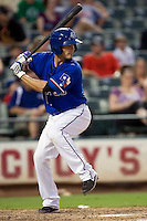 Round Rock Express shortstop Nick Green #9 at bat during a Pacific Coast League game against the Salt Lake Bees at The Dell Diamond in Round Rock, Texas on August 6, 2011. Round Rock defeated Salt Lake 3-1.  (Andrew Woolley/Four Seam Images)