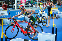31 MAY 2015 - LONDON, GBR - Richard Murray (RSA)  from South Africa exits transition for the start of the bike during the elite men's 2015 ITU World Triathlon Series round in Hyde Park, London, Great Britain (PHOTO COPYRIGHT © 2015 NIGEL FARROW, ALL RIGHTS RESERVED)